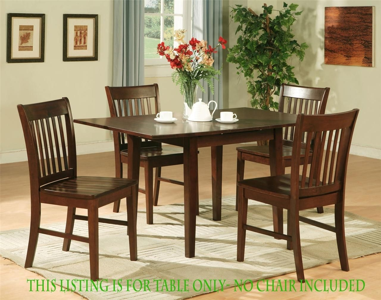 "1 Rectangular Dinette Kitchen Dining Table 32X54 W 12"" Butterfly Leaf Mahogany  Ebay"