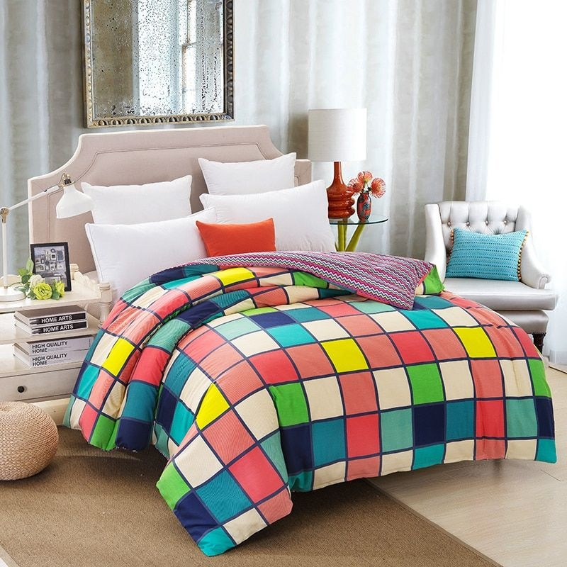 100 Cotton Duvet Cover Set Bed Linen Bedding Set Lattice Pattern For Kids Adults Bedroom Twin