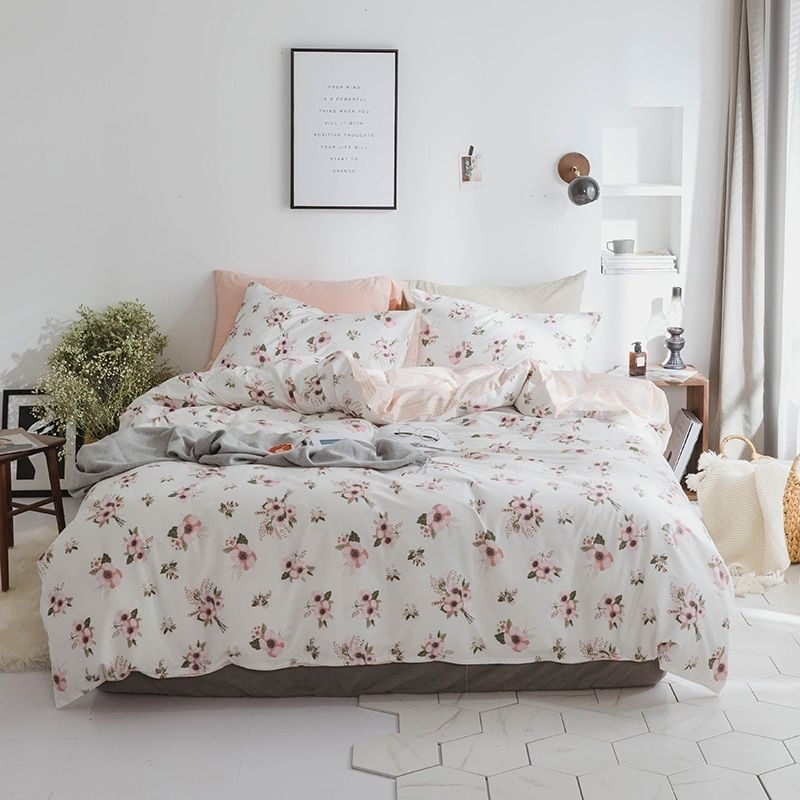 100Cotton Twin Queen King Size Bedding Set For Kids And Adults Floral Print Soft Duvet Cover