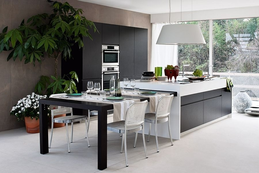 15 Contemporary Modular Kitchen Design Solutions  Kitchen Island Dining Table Modern Kitchen