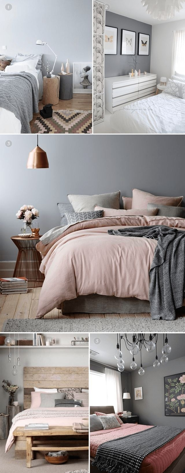 2018 Bedroom Inspo Grey Blush Pink And White Colour Palette  Bedroom Design Room Inspiration