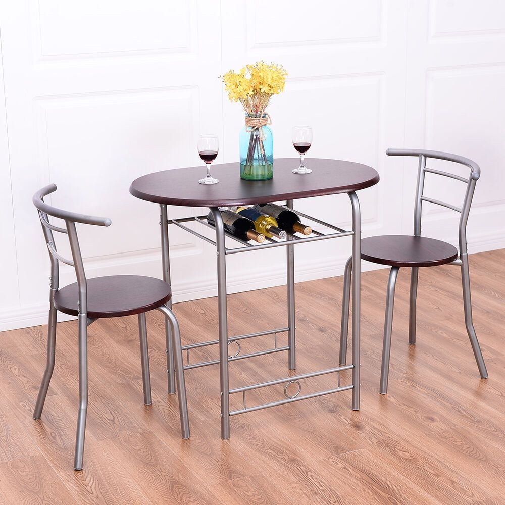 3 Pcs Bistro Dining Set Table And 2 Chairs Kitchen Pub Home Furniture Restaurant  Ebay