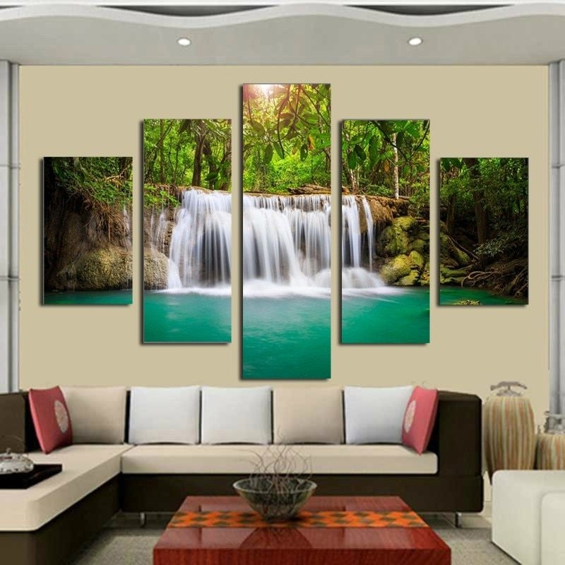 5 Panel Wall Pictures For Living Room Art Waterfall Canvas Painting Modular Picture Posters And