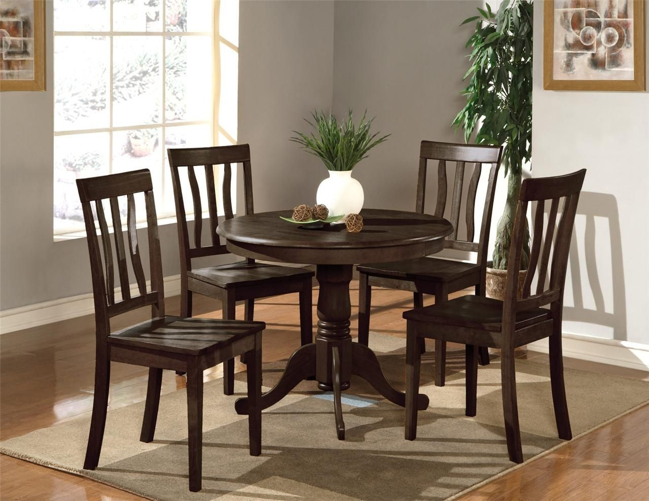 5 Pc Round Table Dinette Kitchen Table  4 Wood Or Padded Chairs In Cappuccino  Ebay