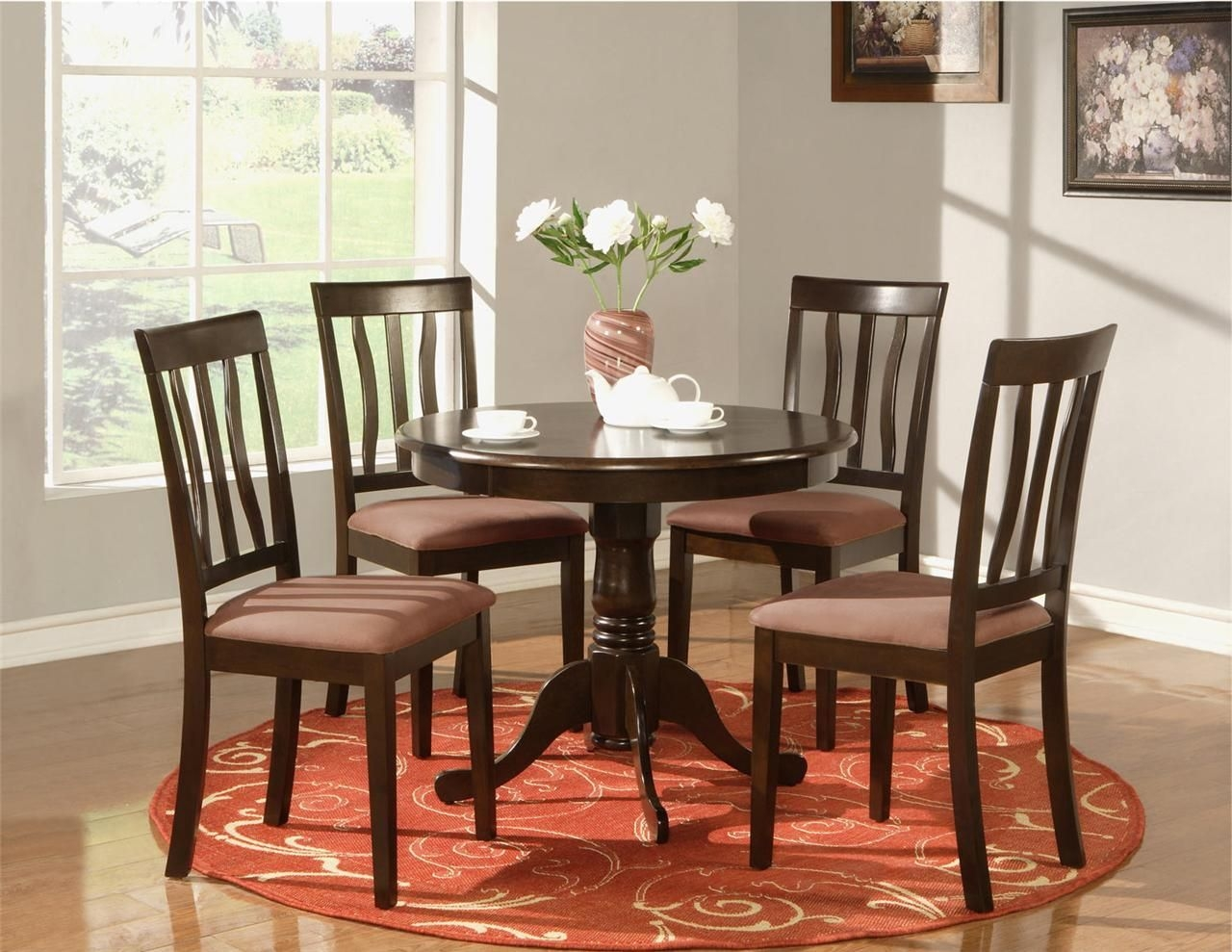 5 Pc Round Table Dinette Kitchen Table And 4 Chairs  Ebay