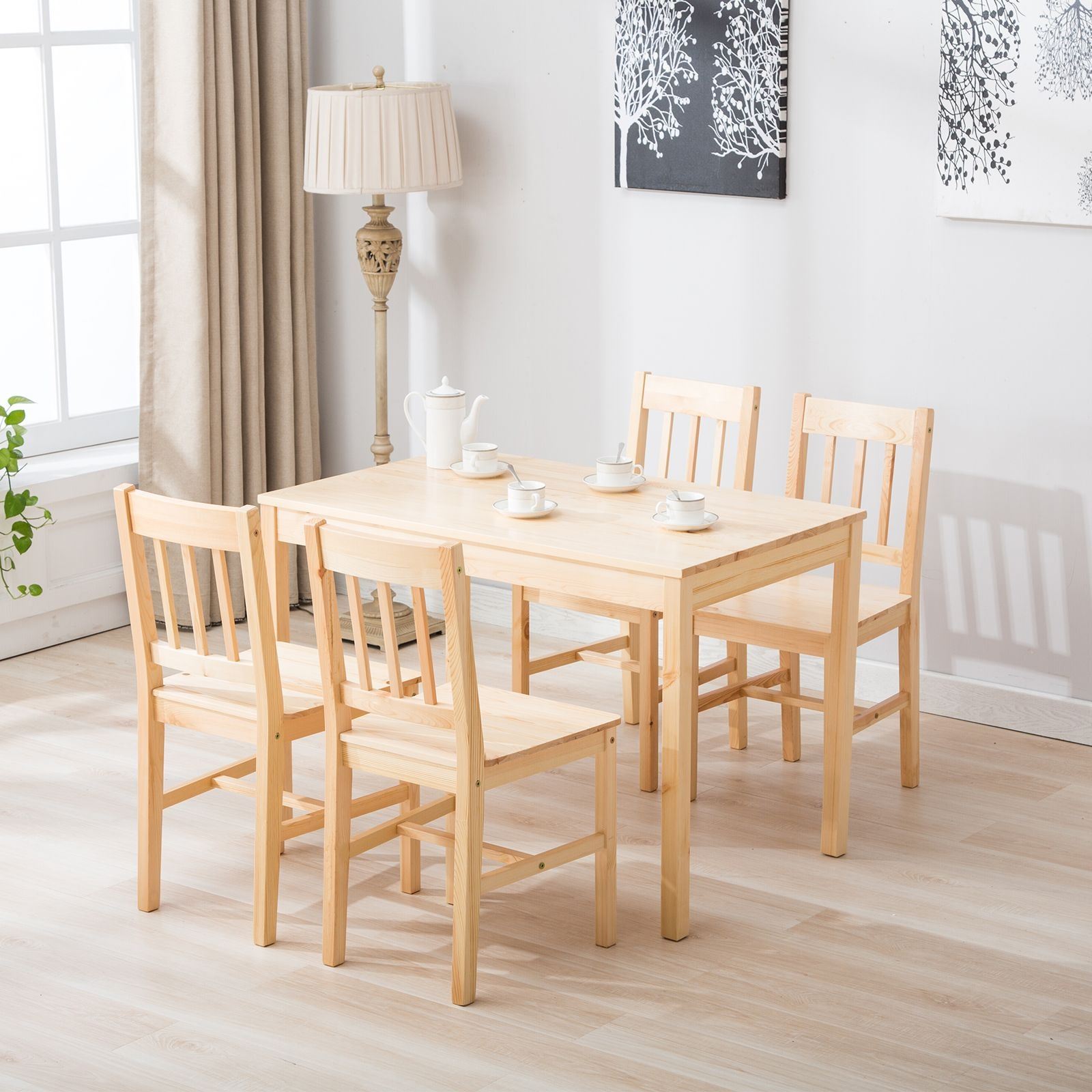5 Pcs Pine Wood Dining Table And Chairs Dining Table Set Kitchen Dining Room 733430877620  Ebay