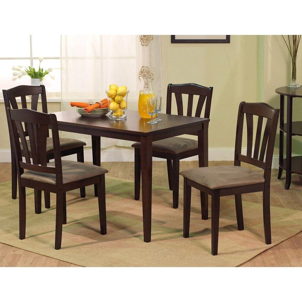 5 Piece Dining Set Kitchen Table And Upholstered Chairs Modern Design Wood Brown  Ebay