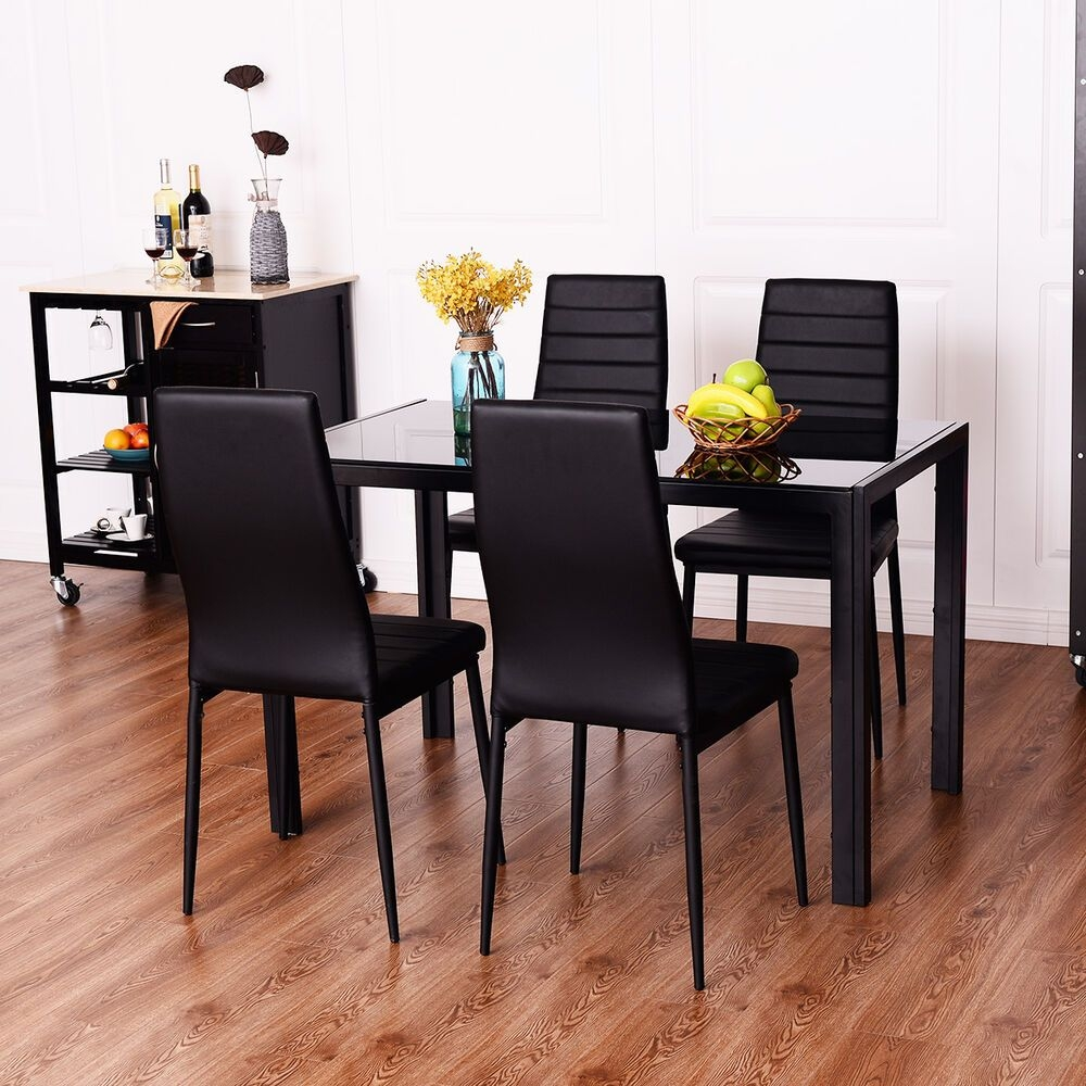 5 Piece Dining Set Tempered Glass Table And 4 Chairs Kitchen Dining Room Black  Ebay