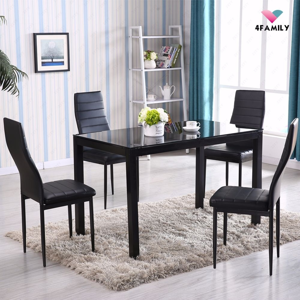 5 Piece Glass Metal Dining Table Set 4 Chairs Kitchen Room Breakfast Furniture  Ebay