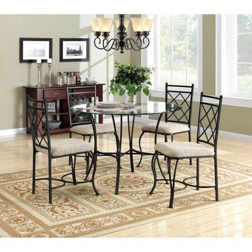 5 Piece Round Glass 4 Chairs Dining Table Set Kitchen Room Furniture Home Decor 705322305825  Ebay