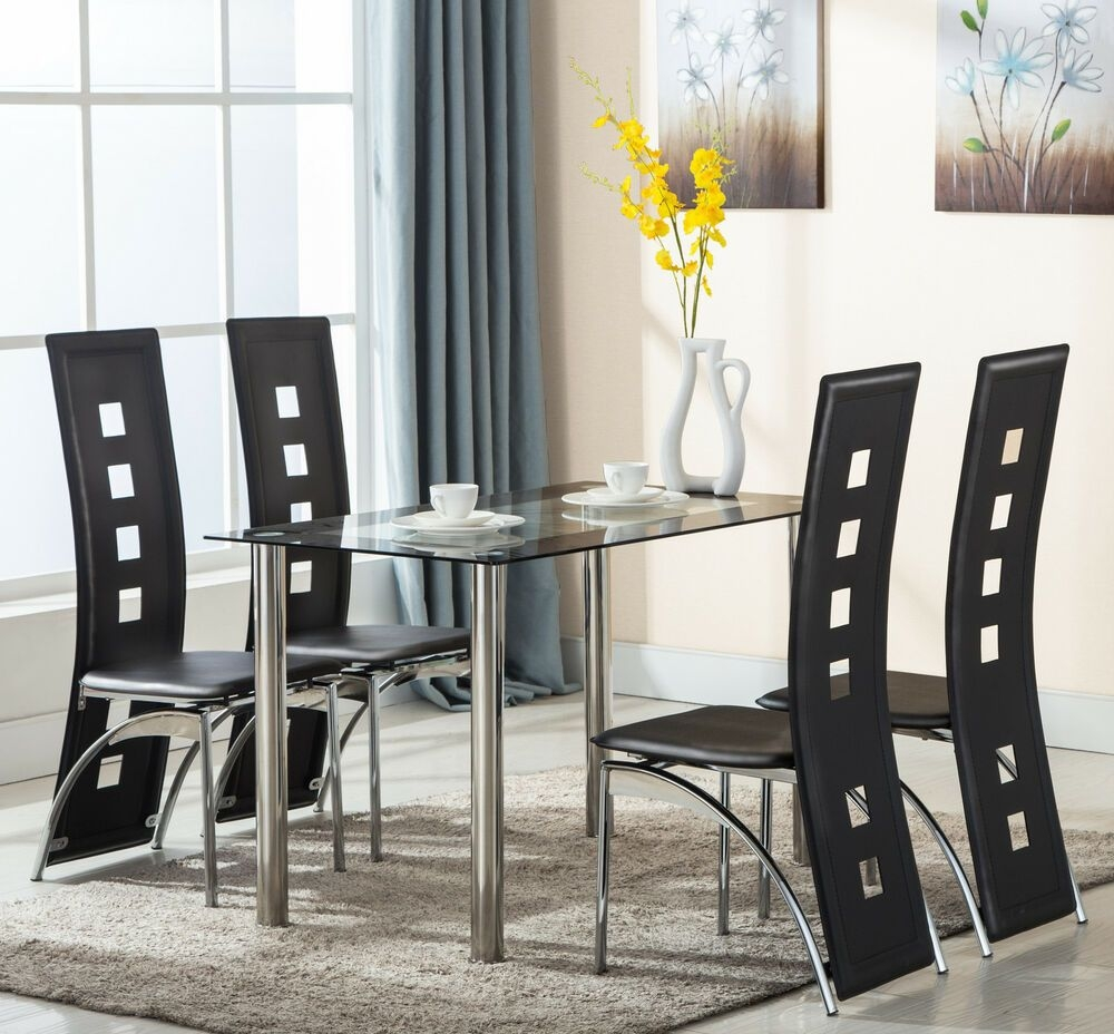 5 Piece Set 4 Leather Chairs Dining Table Kitchen Room Furniture Black  Ebay