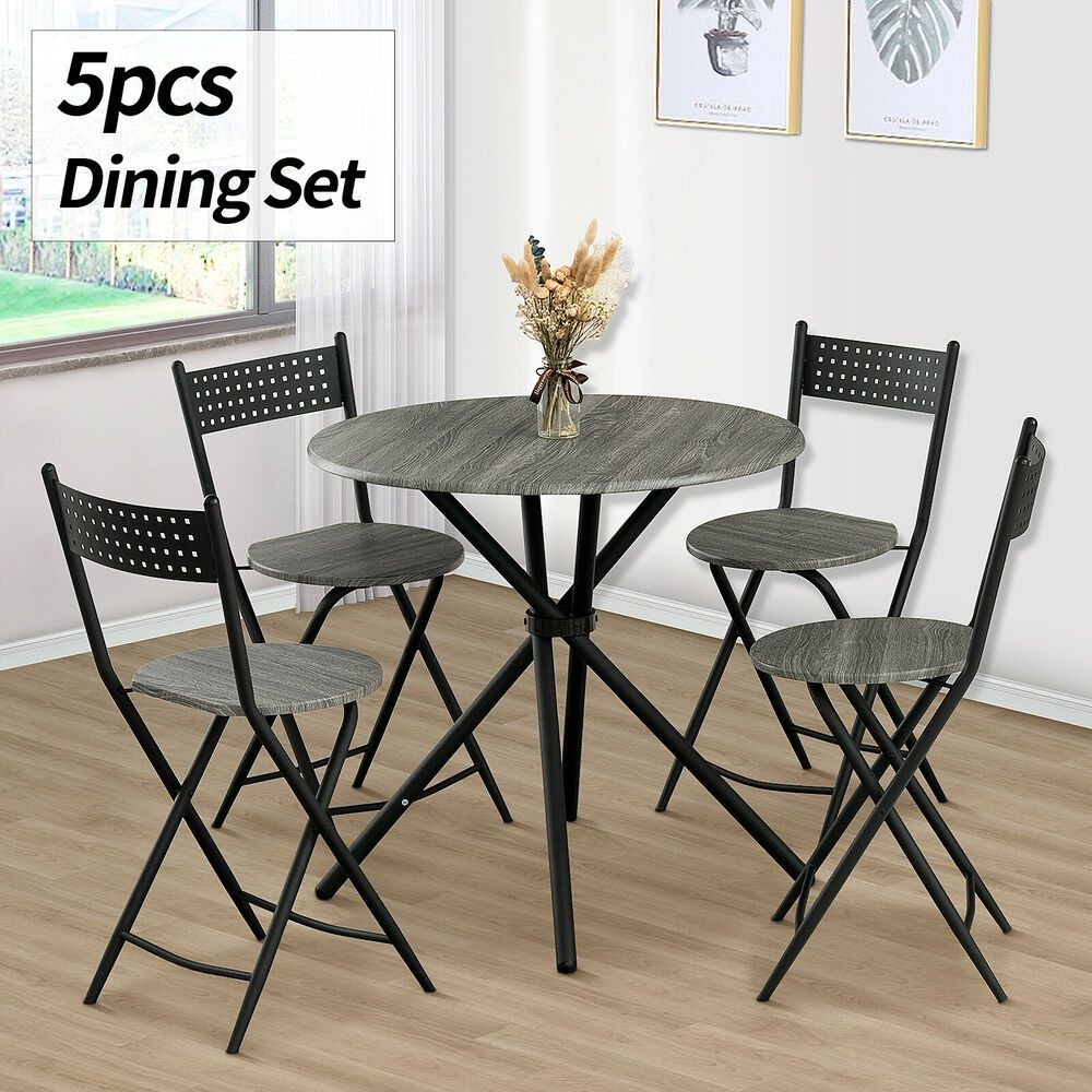 5 Piece Wood Dining Table Set 4 Chairs Kitchen Dinette