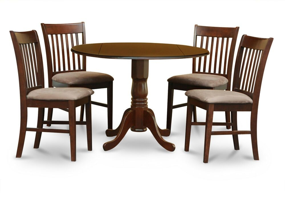 5Pc Dinette Kitchen Dining Set Round Pedestal Table W 4 Padded Chairs Mahogany  Ebay