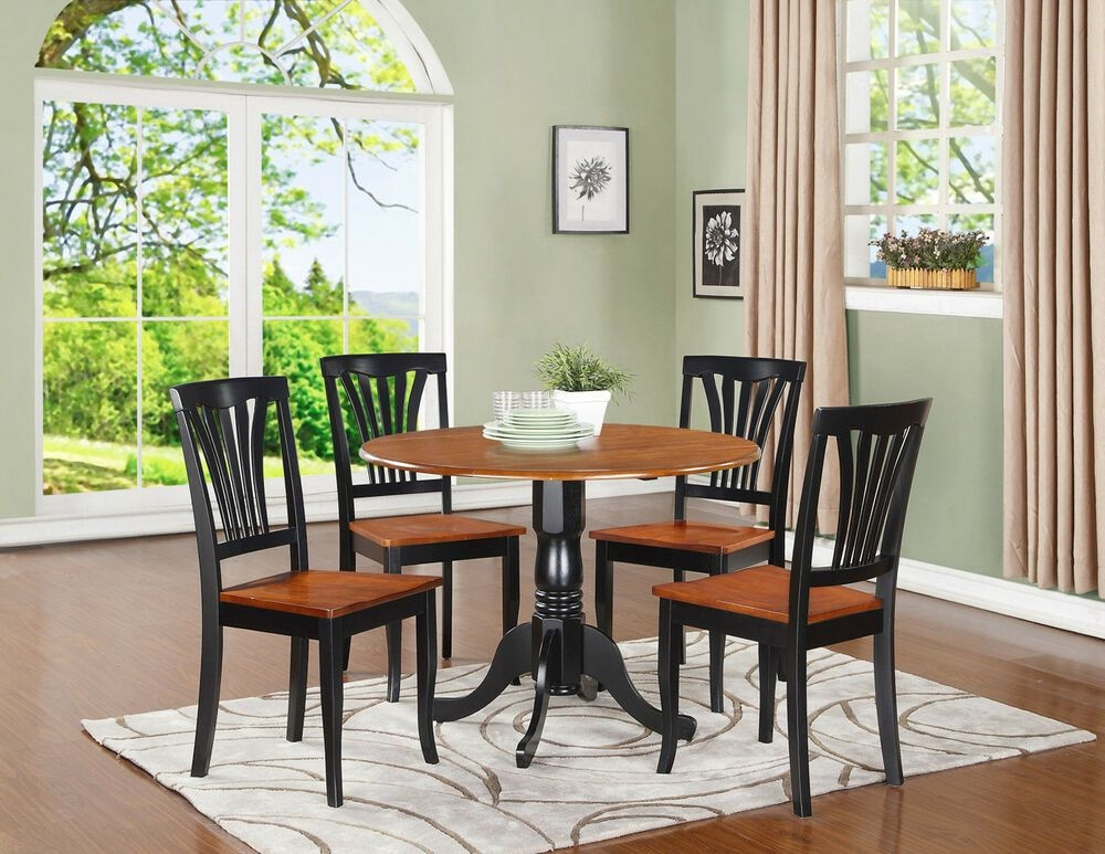 "5Pc Dinette Set 42"" Round Drop Leaf Kitchen Table  4 Avon Chairs Black  Cherry  Ebay"