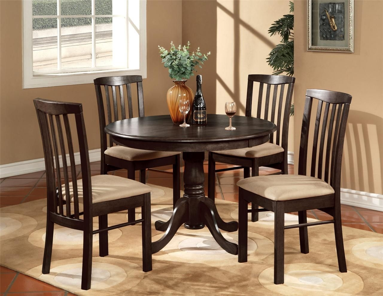 "5Pc Round 42"" Kitchen Dinette Set Table And 4 Wood Or Upholstered Chairs Walnut  Ebay"