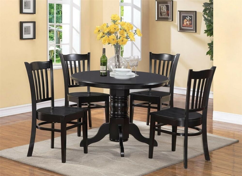 5Pc Shelton Round Dinette Kitchen Table With 4 Wood Seat Chairs In Black Finish  Ebay