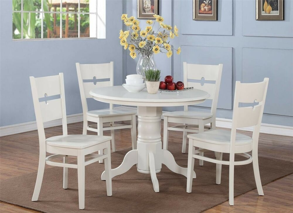 5Pc Shelton Round Kitchen Table W 4 Rockville Wood Seat Chairs In Linen White  Ebay
