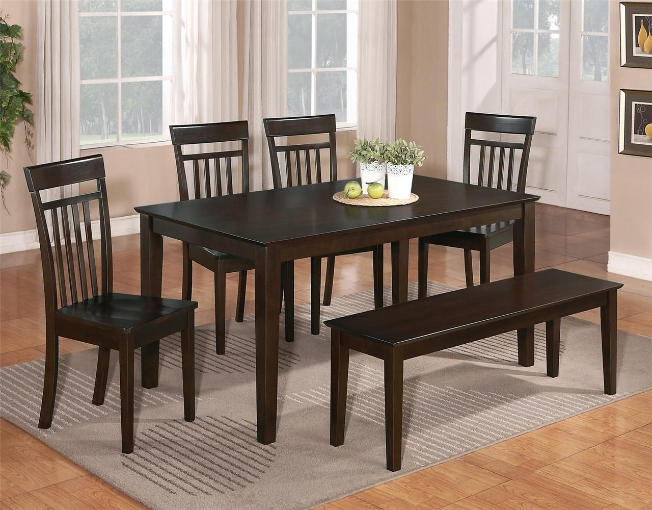 6 Pc Dinette Kitchen Dining Room Set Table W4 Wood Chair And 1 Bench Cappuccino  Ebay