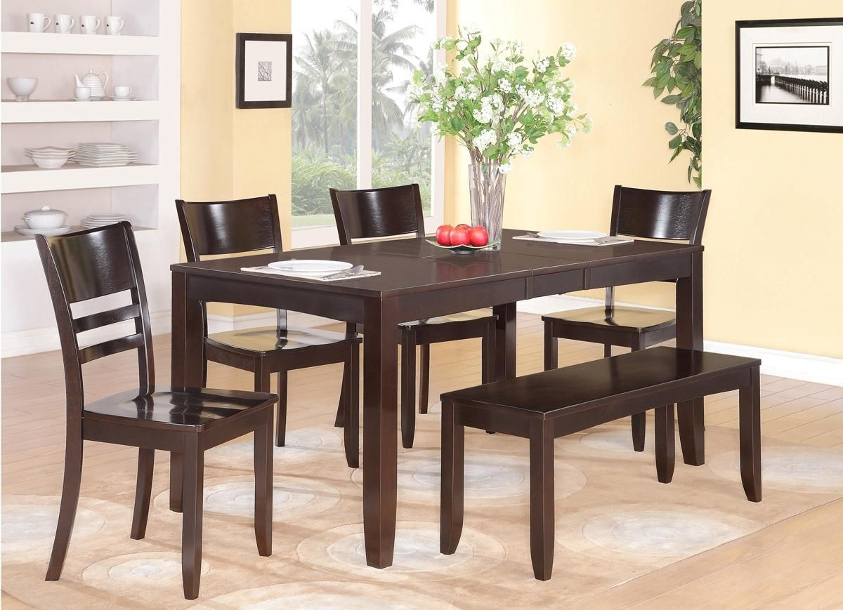 6Pc Rectangular Dinette Kitchen Dining Table With 4 Wood Seat Chairs And 1 Bench  Ebay