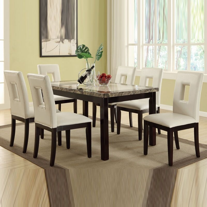 7 Pc Cream Marble Look Table Bycast Leather Upholstery Chair Kitchen Dining Set  Ebay