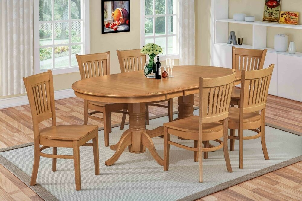 "7 Pc Oval Dinette Kitchen Dining Room Set 42""X78"" Table"