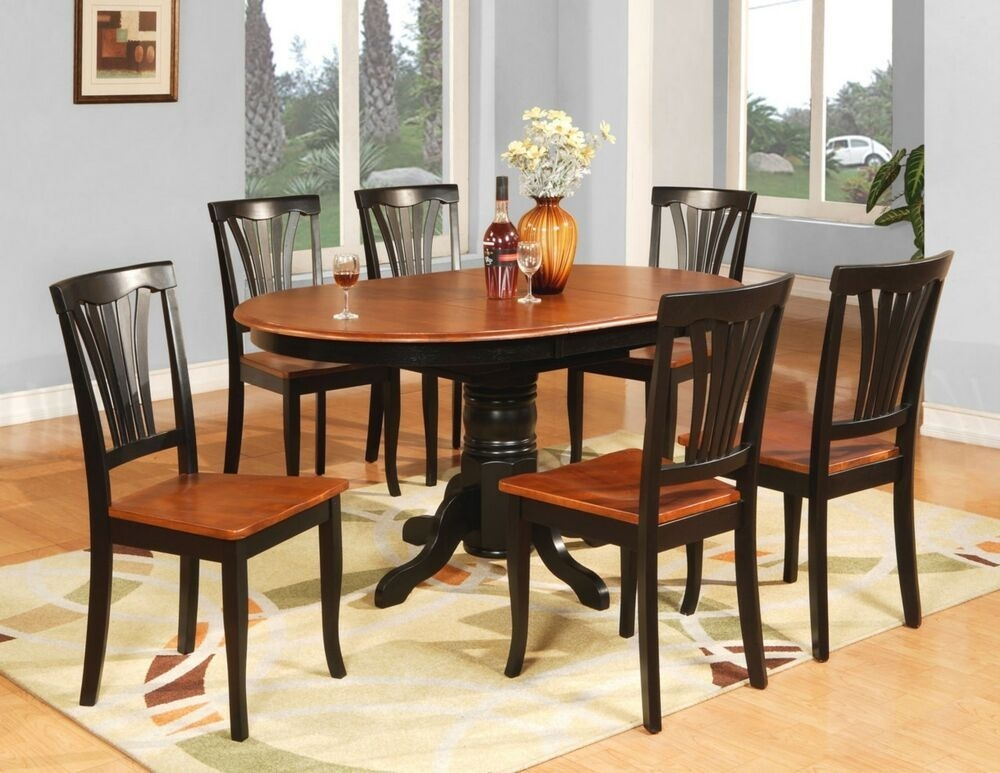 7Pc Avon Oval Kitchen Dining Table W 6 Wood Seat Chairs In Black  Cherry  Ebay