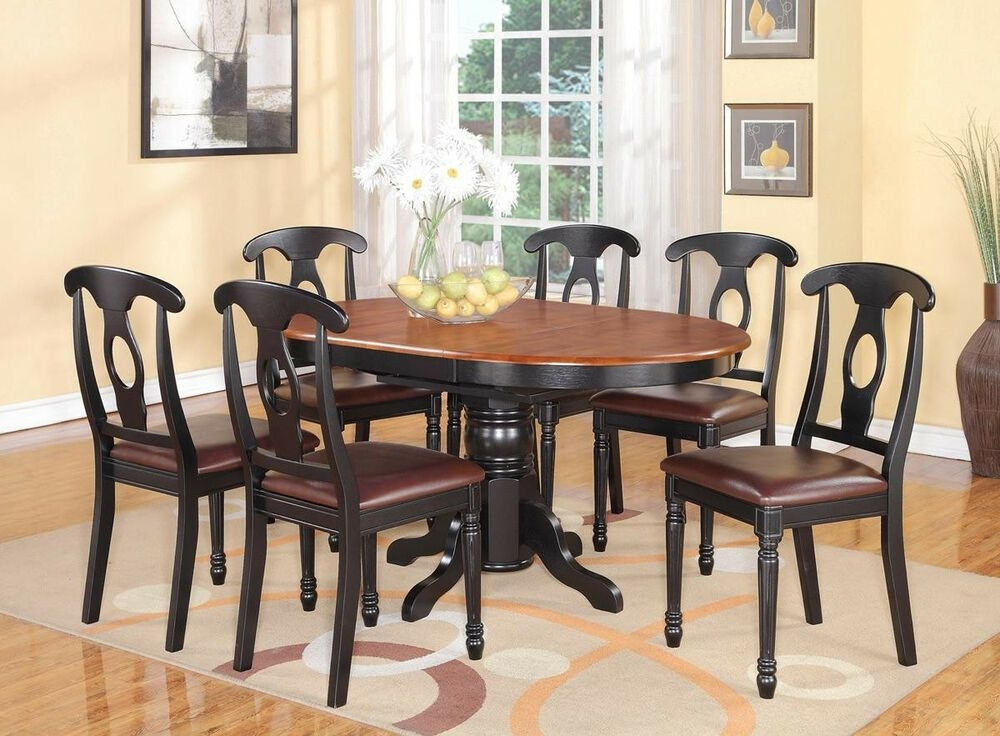 7Pc Kenley Oval Kitchen Dining Set Table  6 Leather Seat