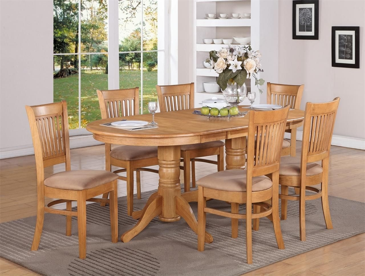 9 Pc Oval Dinette Dining Room Set Table  8 Upholstered Seat Chairs  Ebay