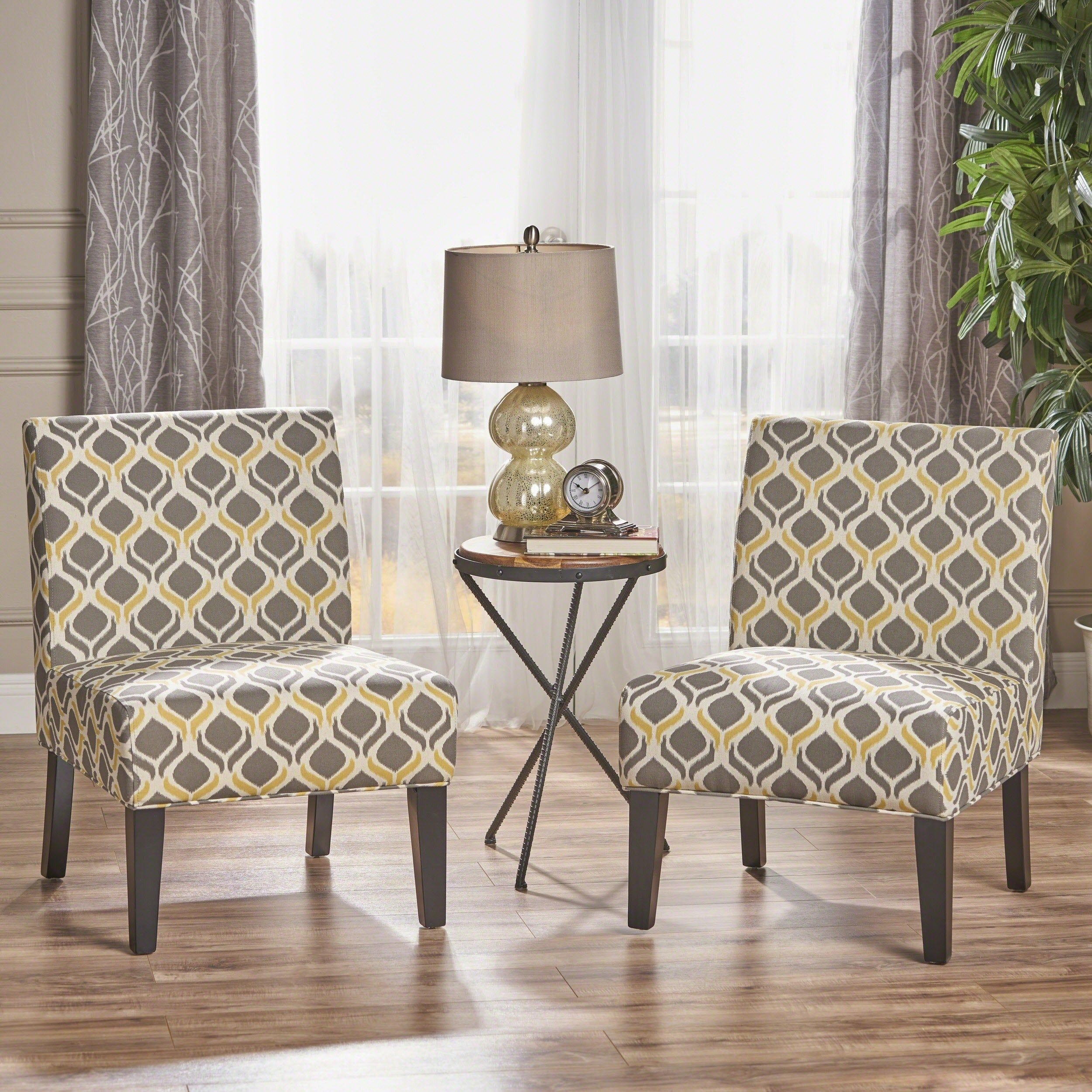 Accent Chairs For Living Room Set Of 2 Soft Sturdy Armless Fabric Modern Blue  Ebay