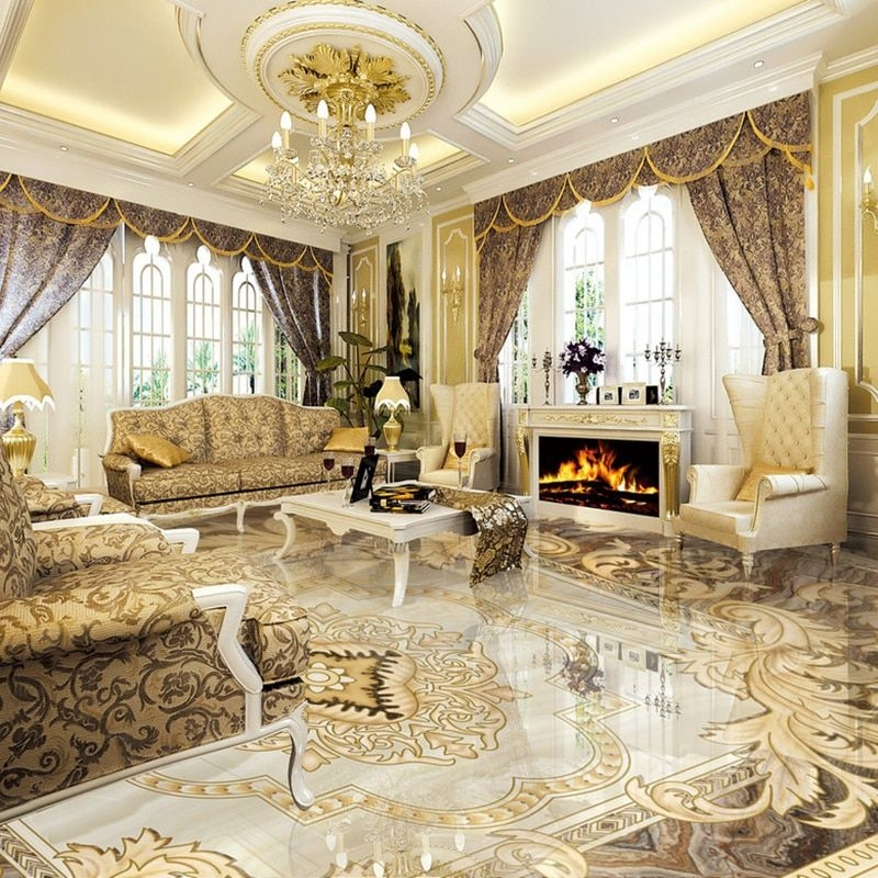 Aliexpress  Buy European Style 3D Floor Tiles Mural Marble Wallpaper Living Room Hotel Wear