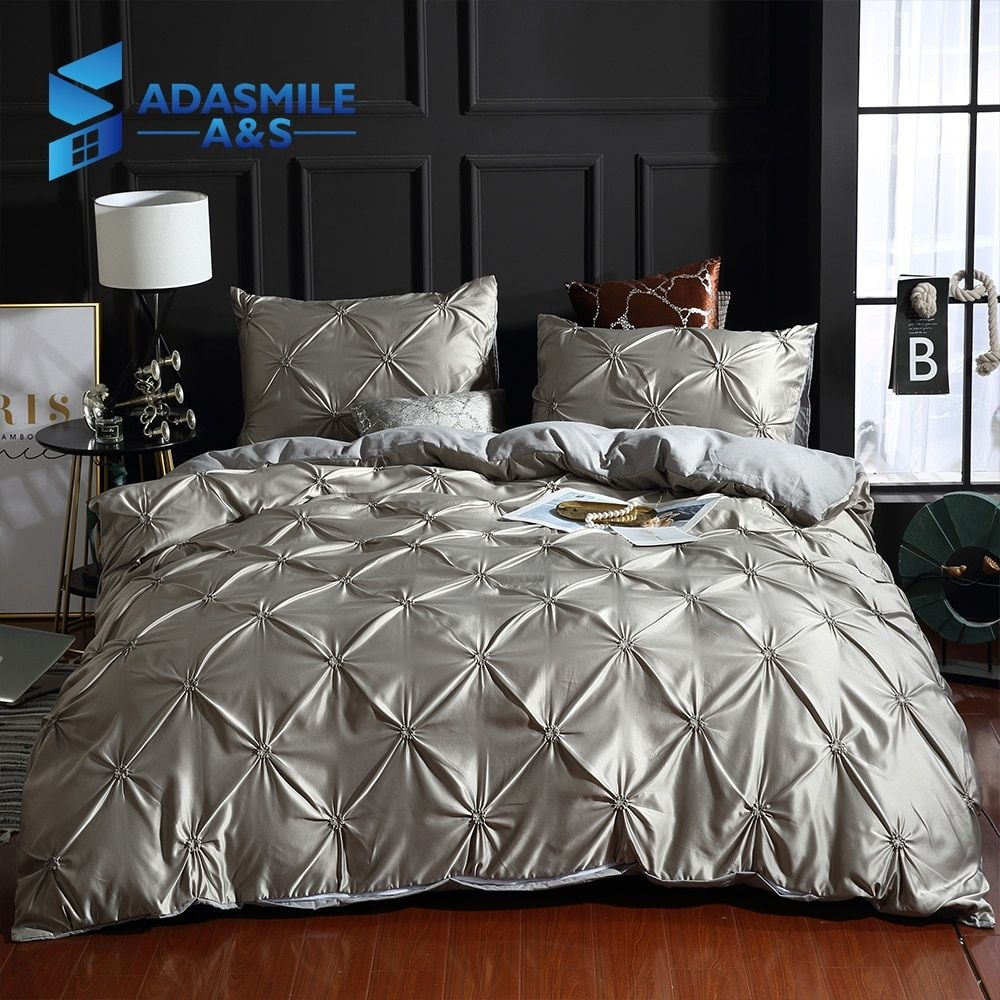 Aliexpress  Buy Luxury Solid Comfortable Quilt Cover Adult Bed Bedding Linens Whitegray