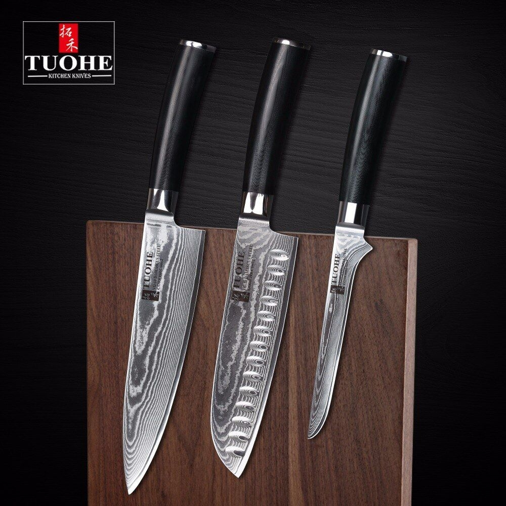 Aliexpress  Buy Tuohe 3 Pcs Japanese Damascus Kitchen Knives Sets High Quality 8 Inches