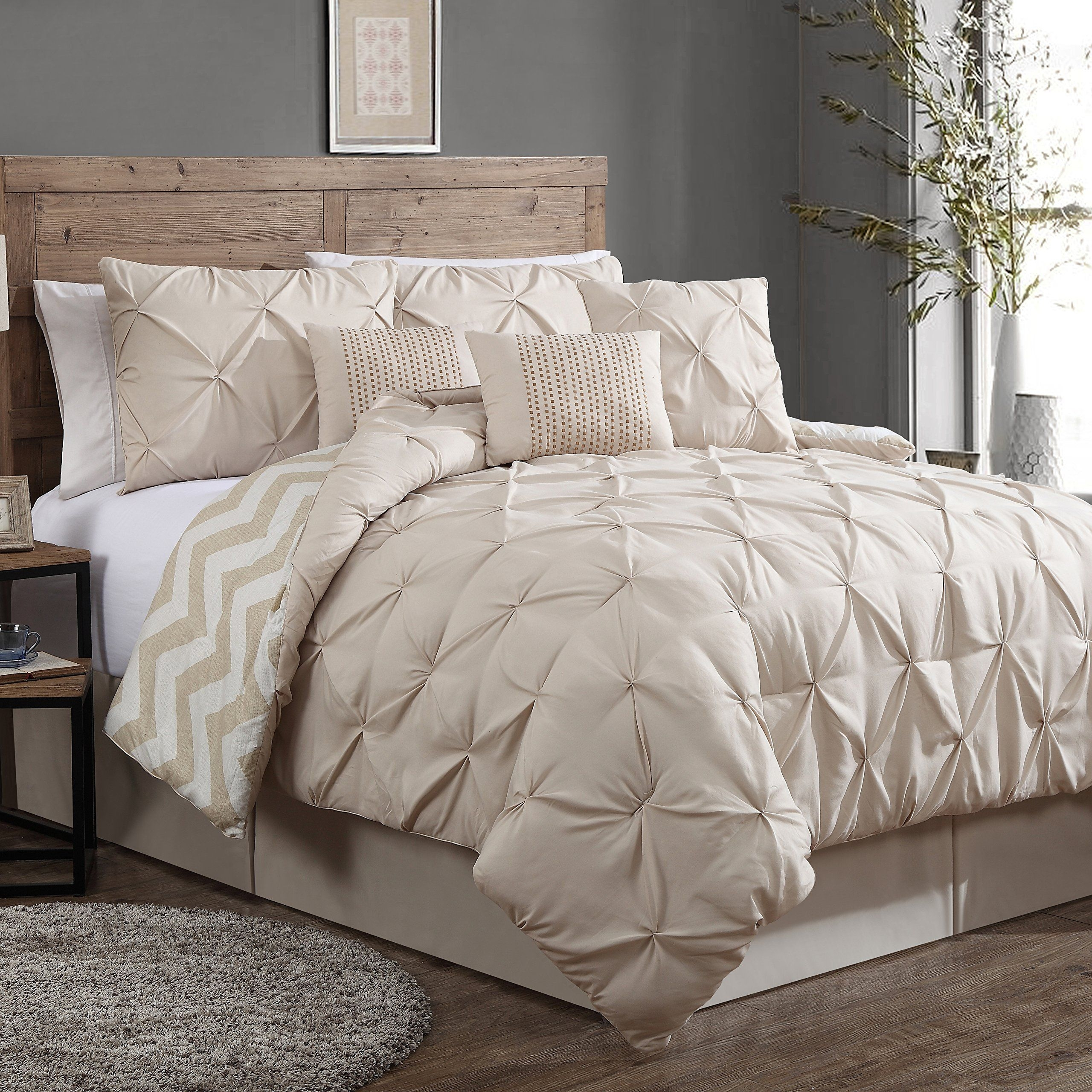 Amazon  Geneva Home Fashion 8Piece Ella Pinch Pleat Comforter Set Queen Taupe