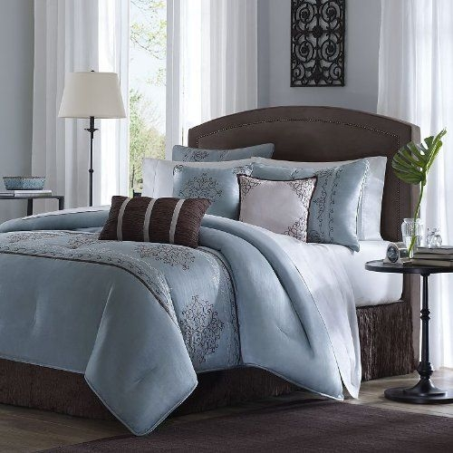 Amazon  Madison Park Brussel 7 Piece Comforter Set Queen Blue  Mad…  Blaue