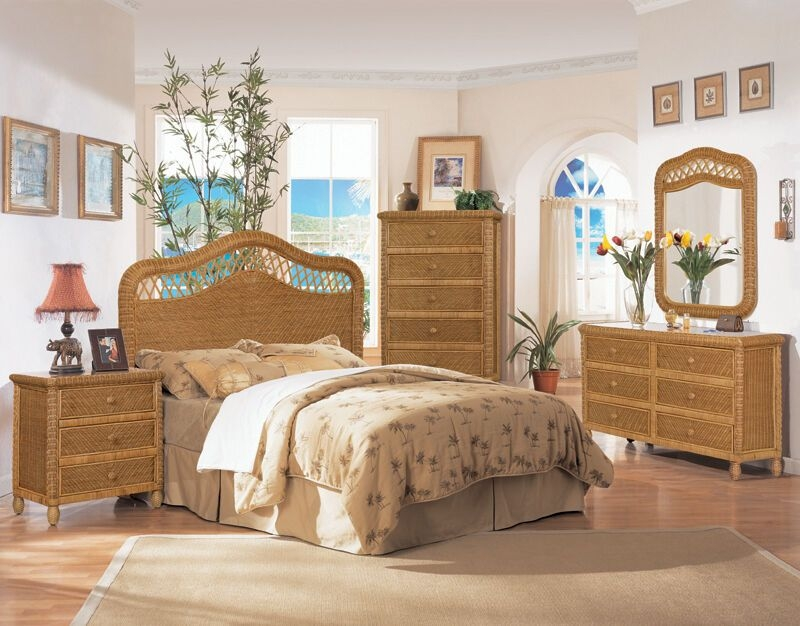 B579 Honey Santa Cruz Wicker And Rattan Bedroom 4 Pc Set From Seawinds Trading  Ebay