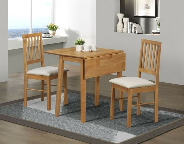 Birlea Rubberwood Small Drop Leaf Dining Table And 2 Chairs Set In Pine For Sale Online  Ebay