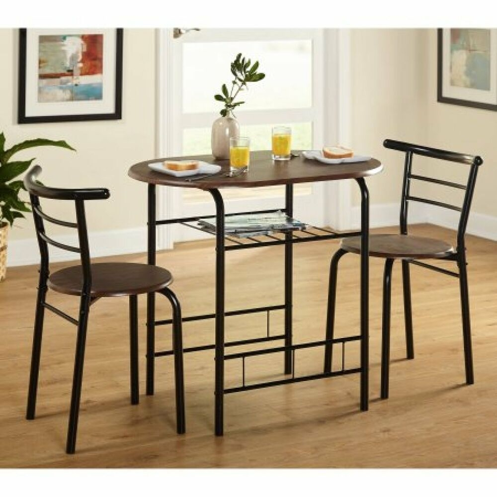 Bistro Table Set Indoor Dining Small Kitchen 2 Chairs 3Piece Blackespresso  Ebay