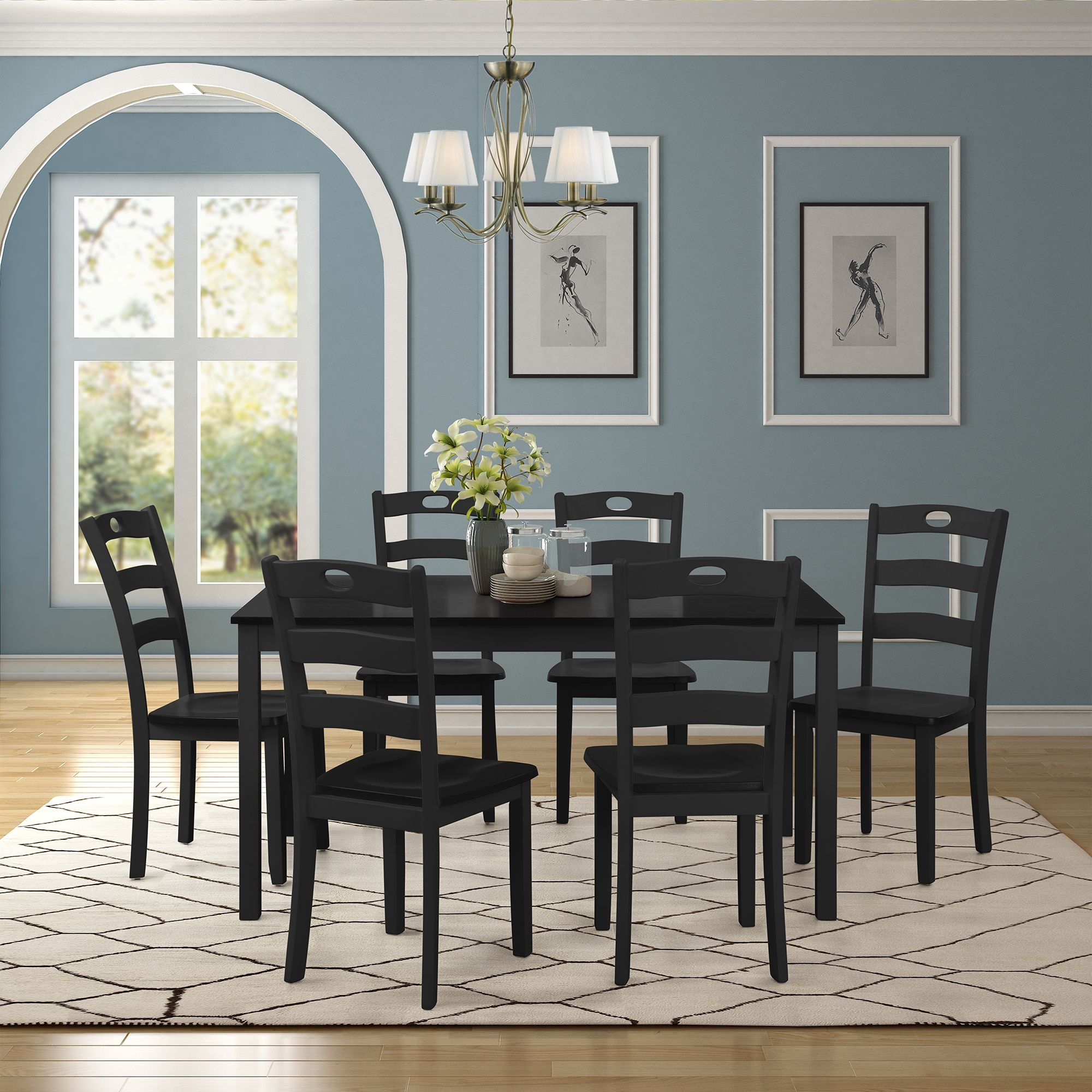 Black Dining Table Set For 6 Modern 7 Piece Dining Room Table Sets With Chairs Heavy Duty