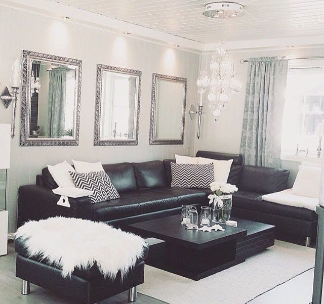 Black White Silver Leather Sofas Fluffy Pillows Crystal Decor  Black Sofa Living Room