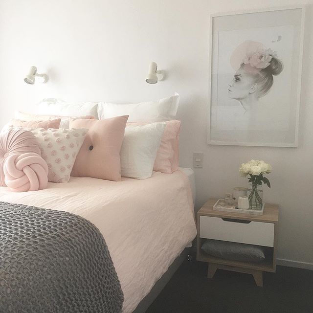 Blush Pink White And Grey Pretty Bedroom Via Ivoryandnoir On Instagram  Decoracion De Interiores