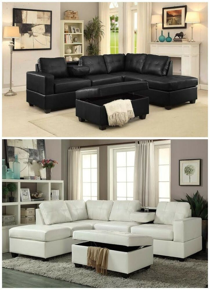 Brand New Pu Leather Living Room Reversible Sectional Sofa Set In Blackwhite  Ebay