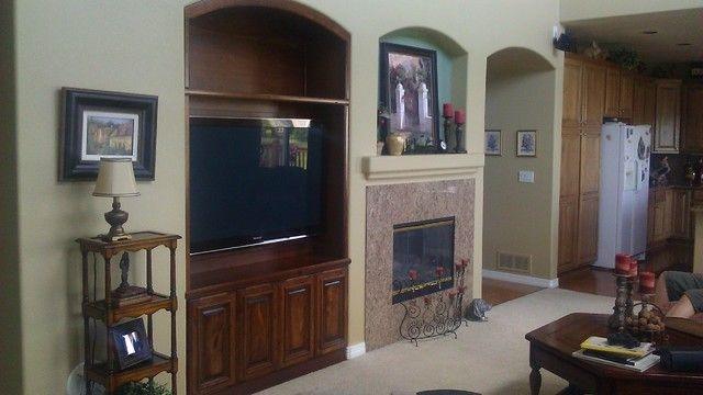 Cherry Entertainment Center  Fireplace Mantle  Traditional  Living Room  Denver Amf