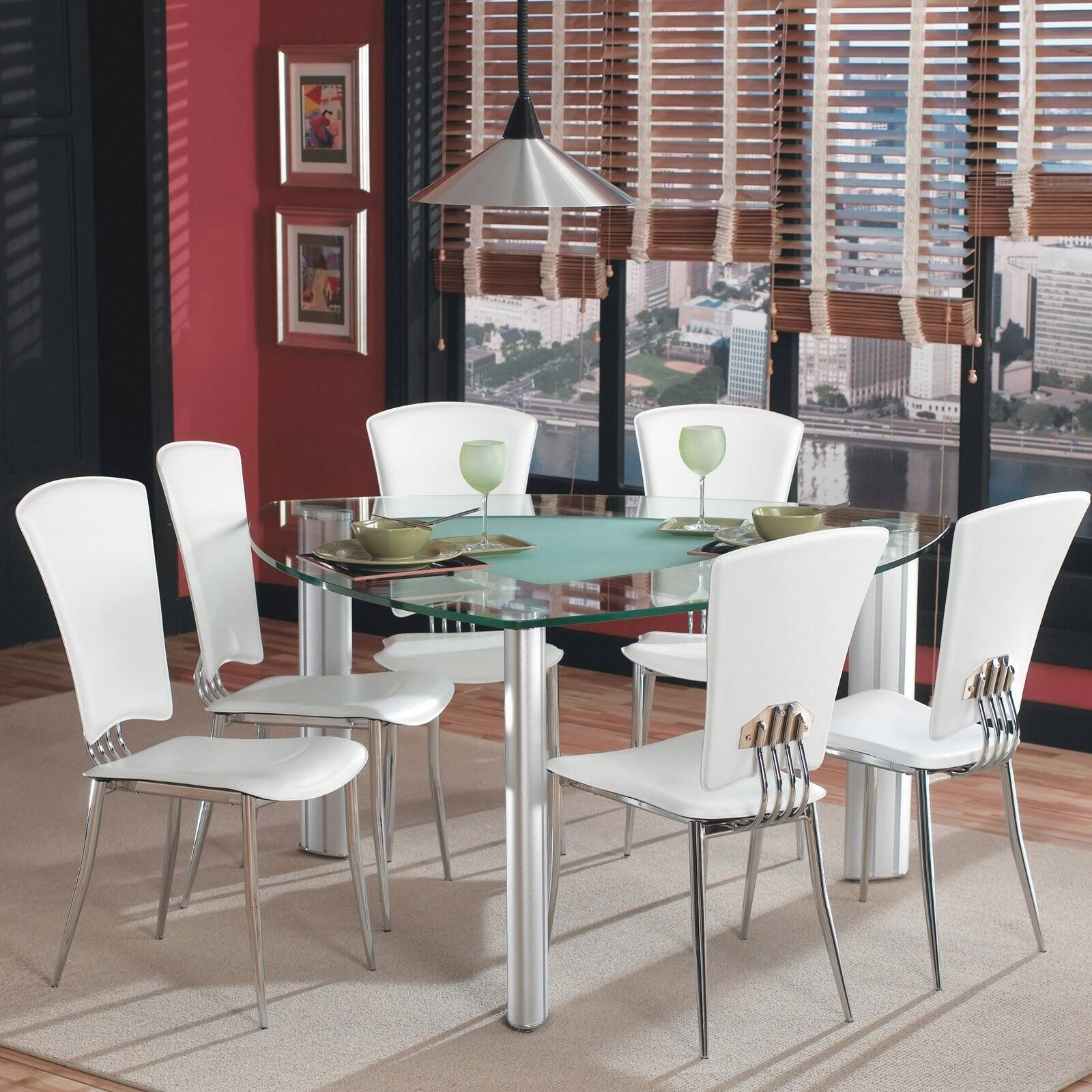 Chintaly Tracy Triangle Glass Top Dining Table At Hayneedle