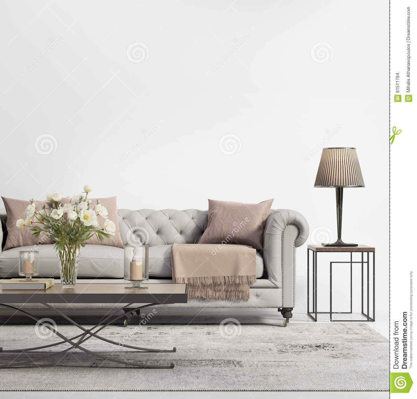 Contemporary Elegant Chic Living Room With Grey Tufted Sofa Stock Illustration  Illustration Of