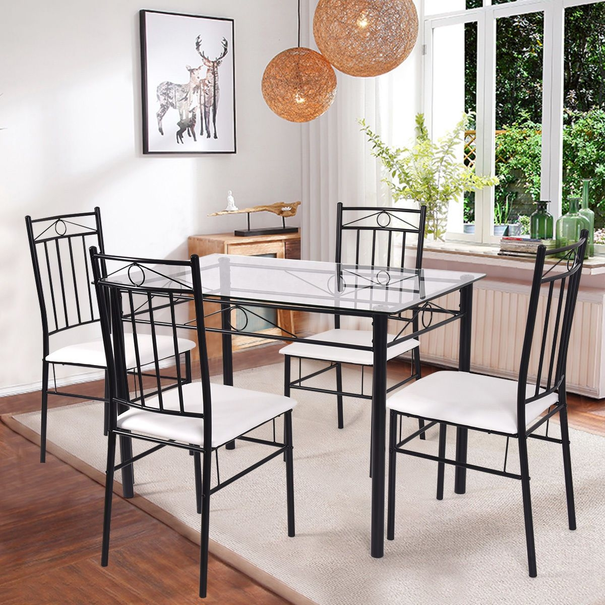 Costway 5 Piece Dining Set Glass Metal Table And 4 Chairs Kitchen Breakfast Furniture  Walmart
