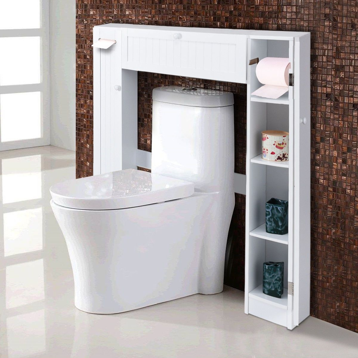 Costway Wooden Over The Toilet Storage Cabinet Drop Door Spacesaver Bathroom White  Walmart