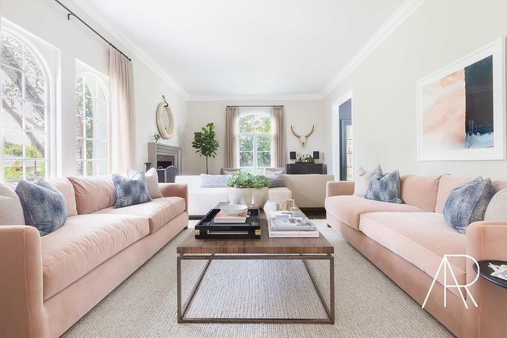 Dark Gray Sofa With Pink And Gray Pillows  Transitional  Living Room