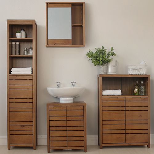 Dark Wood Bathroom Tallboy  Chiltern  Store  Bathroom Storage Cabinets  Units  Store