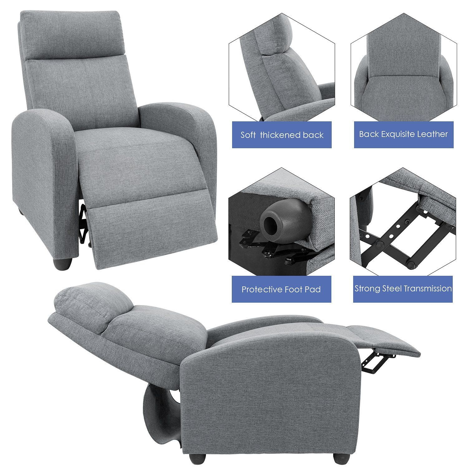 Devoko Adjustable Recliner Single Chair Fabric Modern Living Room Chair Thicker Cushion
