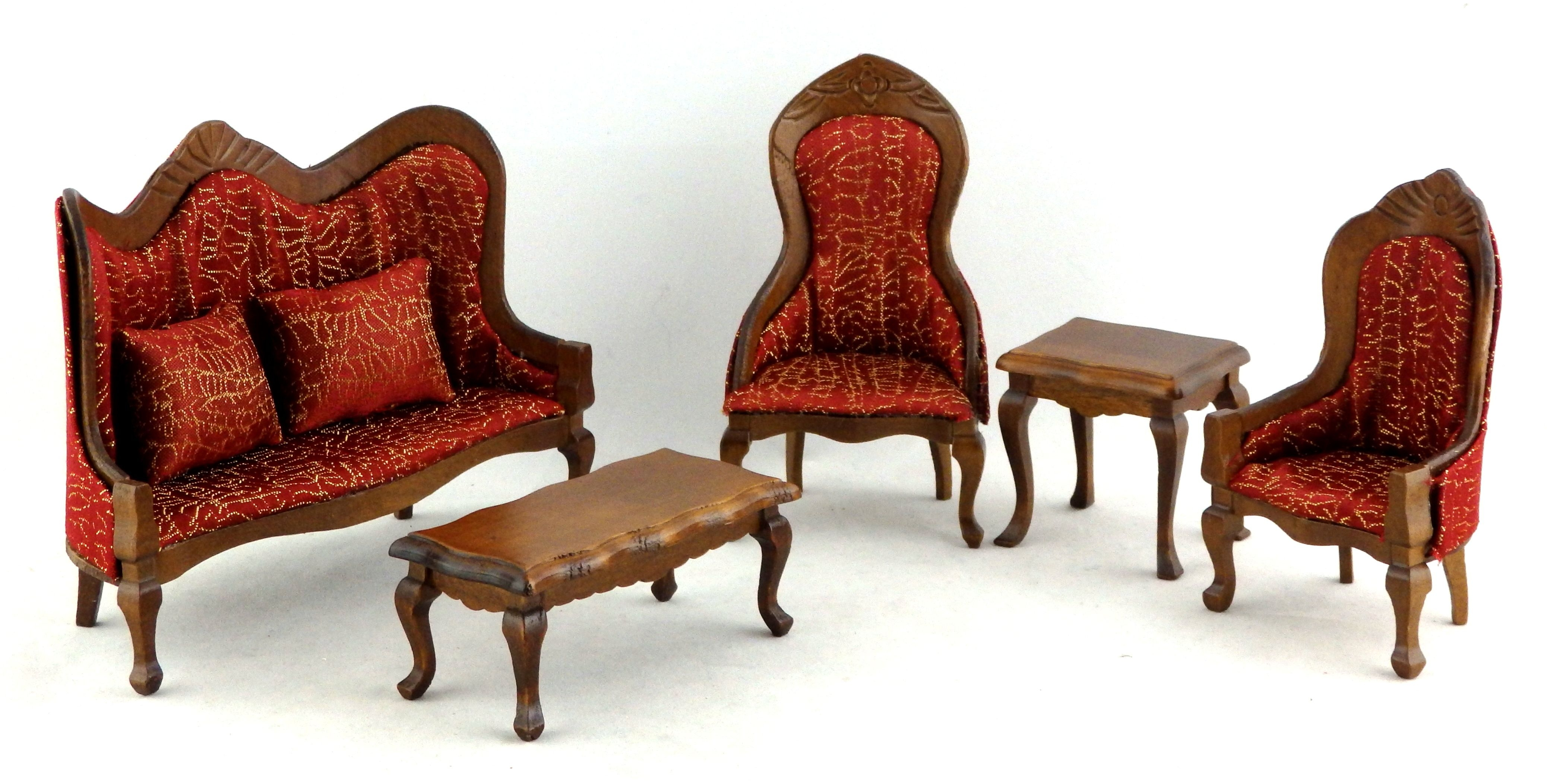Dolls House Miniature Victorian Vermillion Living Room Furniture Set Walnut Sofa  Ebay